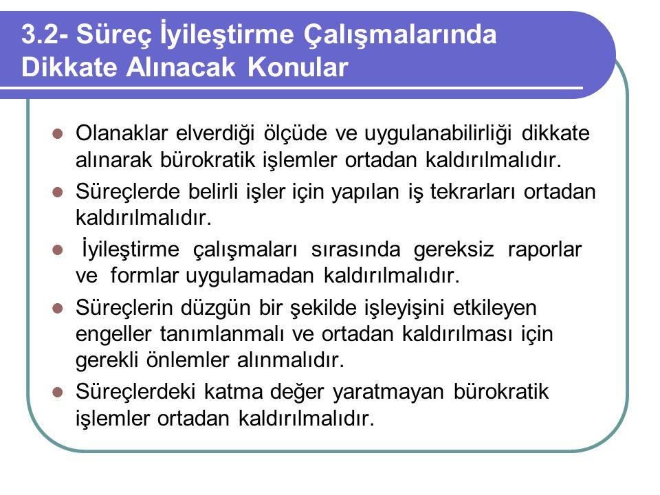 3.2- Süreç İyileştirme Çalışmalarında Dikkate Alınacak Konular Olanaklar elverdiği ölçüde ve uygulanabilirliği dikkate alınarak bürokratik işlemler or