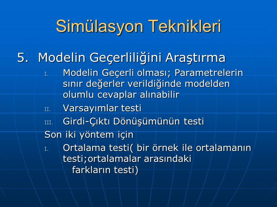 Simülasyon Teknikleri 5. Modelin Geçerliliğini Araştırma I. Modelin Geçerli olması; Parametrelerin sınır değerler verildiğinde modelden olumlu cevapla