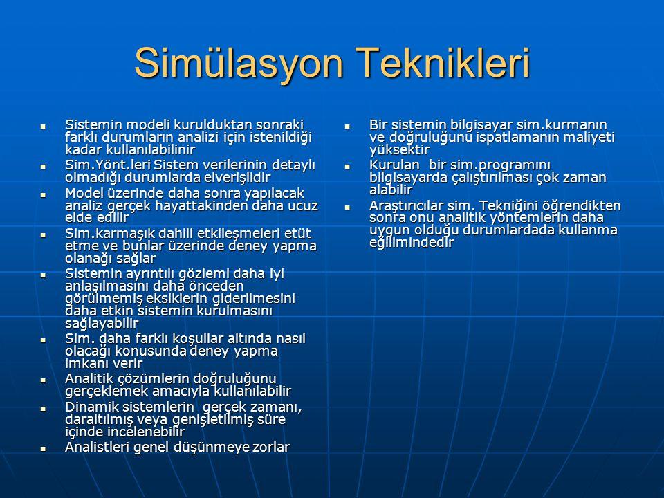 Simülasyon Teknikleri Sistemin modeli kurulduktan sonraki farklı durumların analizi için istenildiği kadar kullanılabilinir Sistemin modeli kuruldukta