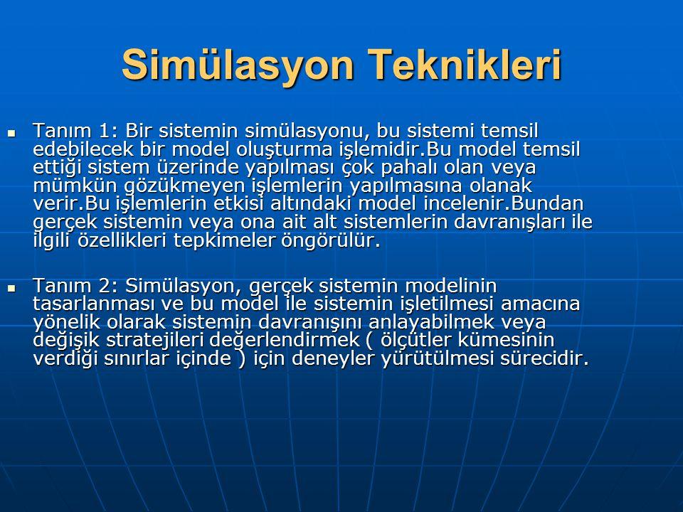 Simülasyon Teknikleri Tanım 1: Bir sistemin simülasyonu, bu sistemi temsil edebilecek bir model oluşturma işlemidir.Bu model temsil ettiği sistem üzer