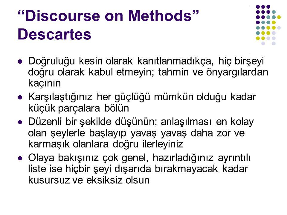 """""""Discourse on Methods"""" Descartes Doğruluğu kesin olarak kanıtlanmadıkça, hiç birşeyi doğru olarak kabul etmeyin; tahmin ve önyargılardan kaçının Karşı"""