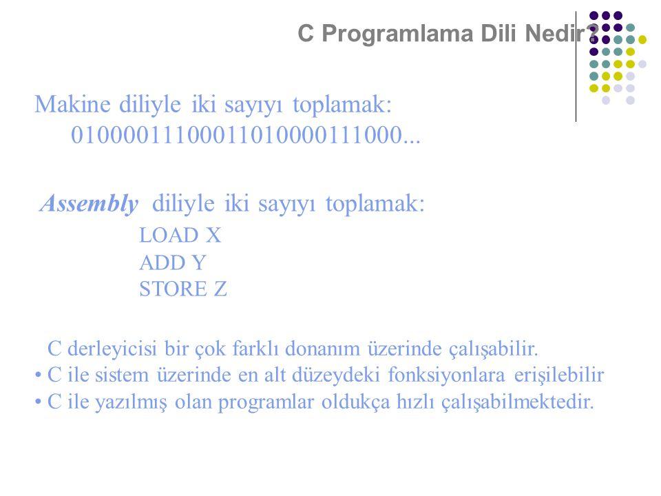 C Programlama Dili Nedir? Makine diliyle iki sayıyı toplamak: 01000011100011010000111000... Assembly diliyle iki sayıyı toplamak: LOAD X ADD Y STORE Z