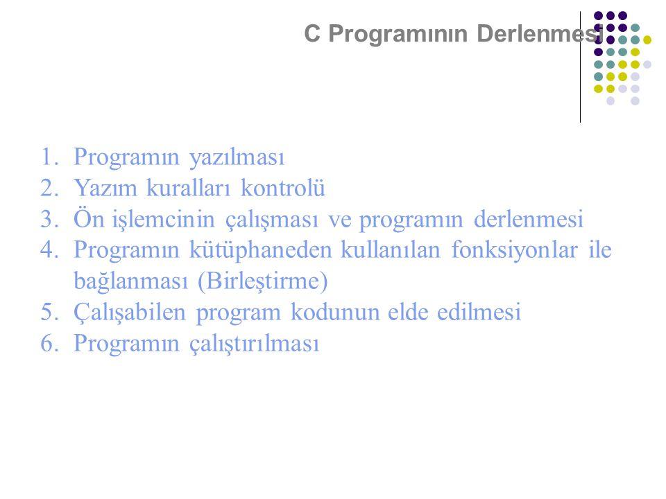 C Programının Derlenmesi 1.Programın yazılması 2.Yazım kuralları kontrolü 3.Ön işlemcinin çalışması ve programın derlenmesi 4.Programın kütüphaneden k