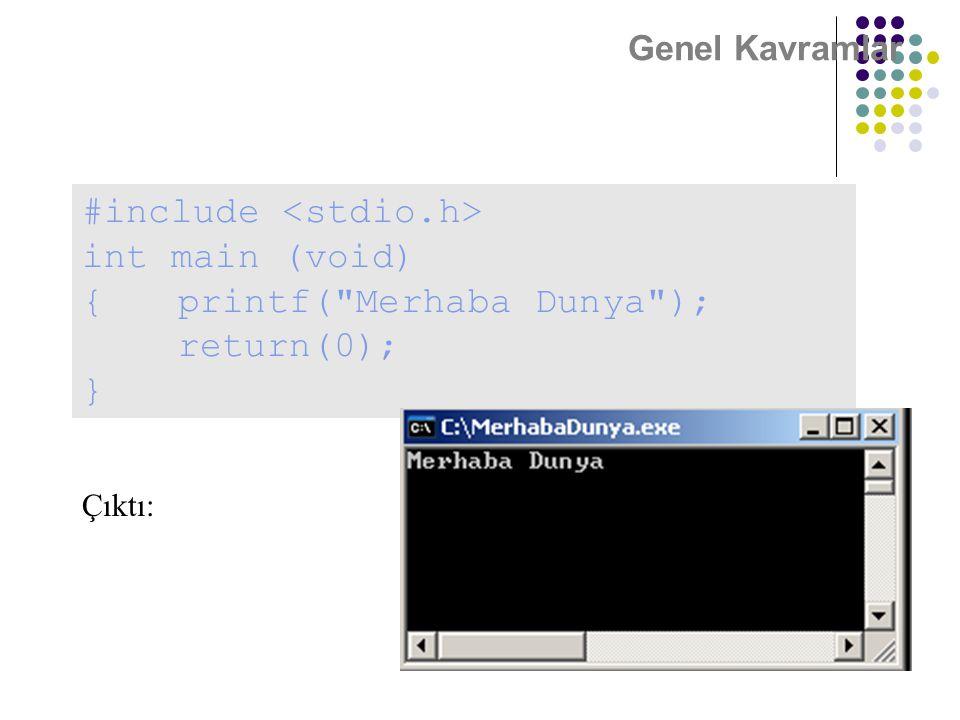 Genel Kavramlar #include int main (void) {printf(