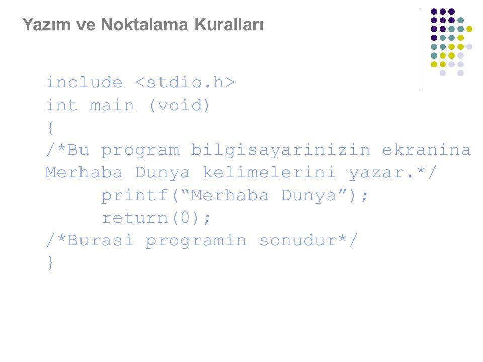 """Yazım ve Noktalama Kuralları include int main (void) { /*Bu program bilgisayarinizin ekranina Merhaba Dunya kelimelerini yazar.*/ printf(""""Merhaba Duny"""