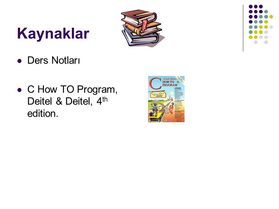 Kaynaklar Ders Notları C How TO Program, Deitel & Deitel, 4 th edition.