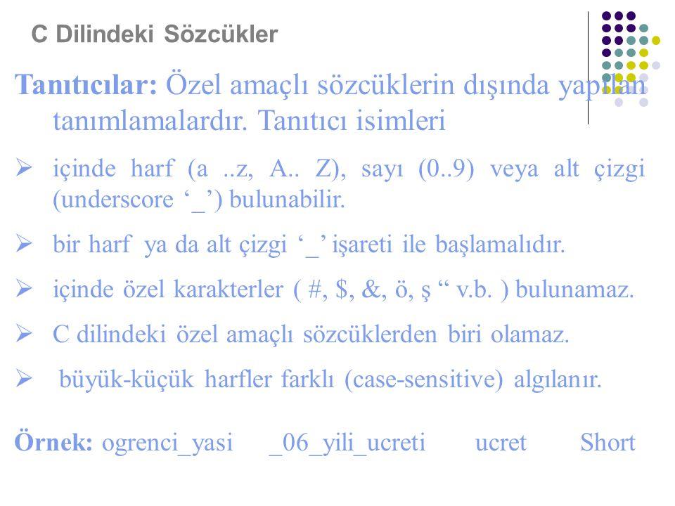 Tanıtıcılar: Özel amaçlı sözcüklerin dışında yapılan tanımlamalardır. Tanıtıcı isimleri  içinde harf (a..z, A.. Z), sayı (0..9) veya alt çizgi (under