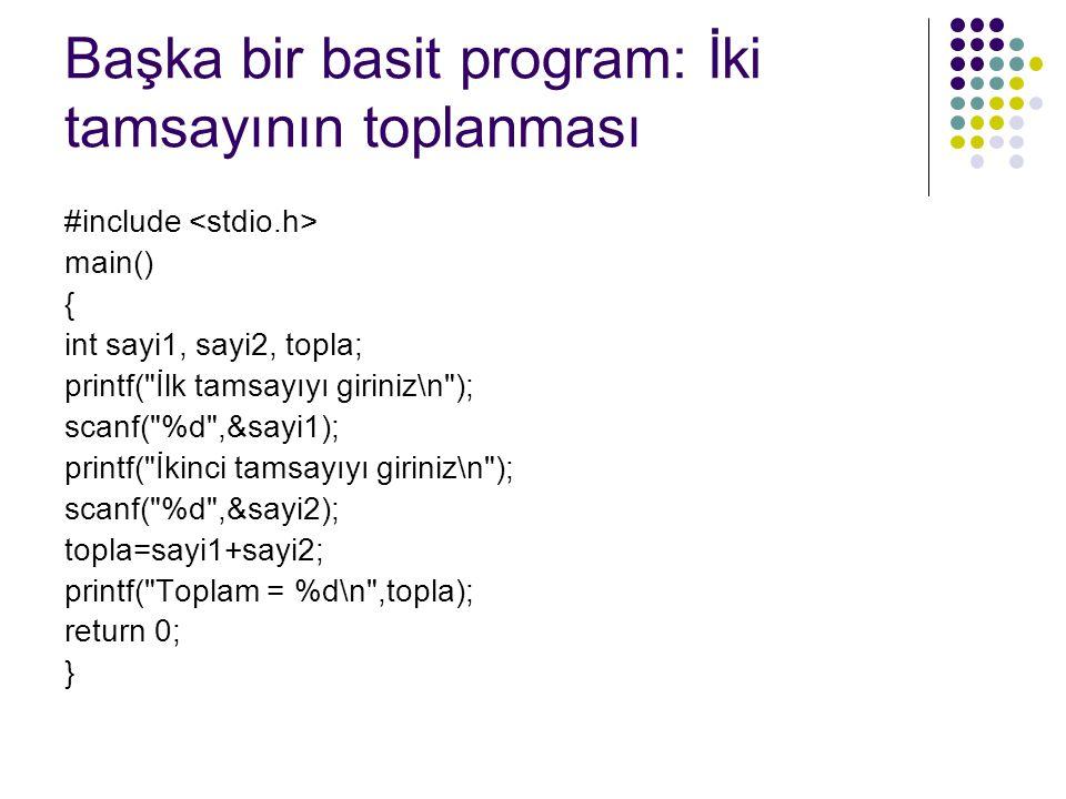 Başka bir basit program: İki tamsayının toplanması #include main() { int sayi1, sayi2, topla; printf(