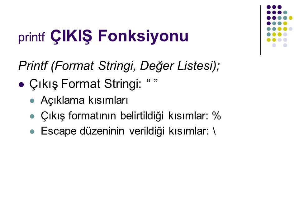 """printf ÇIKIŞ Fonksiyonu Printf (Format Stringi, Değer Listesi); Çıkış Format Stringi: """" """" Açıklama kısımları Çıkış formatının belirtildiği kısımlar: %"""