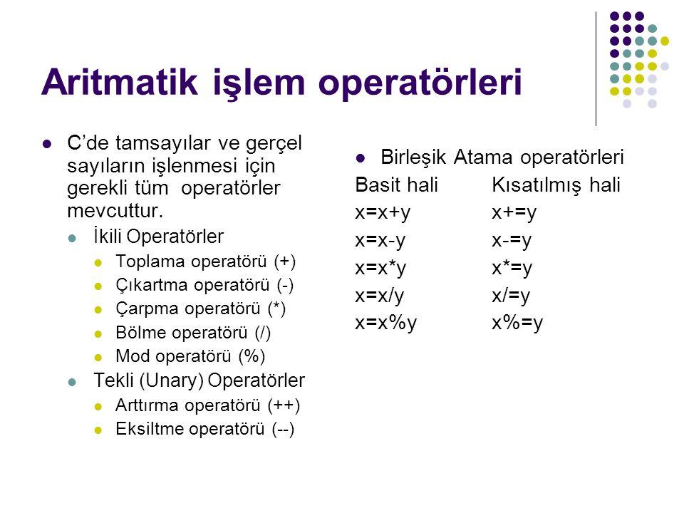 Aritmatik işlem operatörleri C'de tamsayılar ve gerçel sayıların işlenmesi için gerekli tüm operatörler mevcuttur. İkili Operatörler Toplama operatörü