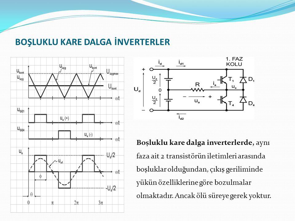 BOŞLUKLU KARE DALGA İNVERTERLER Boşluklu kare dalga inverterlerde, aynı faza ait 2 transistörün iletimleri arasında boşluklar olduğundan, çıkış geriliminde yükün özelliklerine göre bozulmalar olmaktadır.