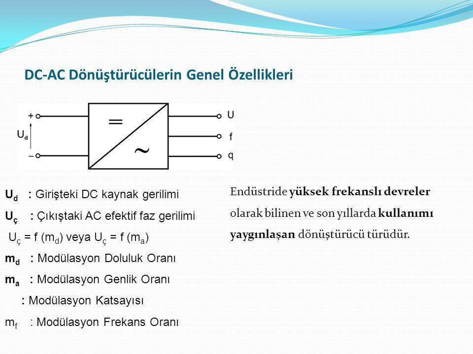 DC-AC Dönüştürücülerin Genel Özellikleri U d : Girişteki DC kaynak gerilimi U ç : Çıkıştaki AC efektif faz gerilimi U ç = f (m d ) veya U ç = f (m a ) m d : Modülasyon Doluluk Oranı m a : Modülasyon Genlik Oranı : Modülasyon Katsayısı m f : Modülasyon Frekans Oranı Endüstride yüksek frekanslı devreler olarak bilinen ve son yıllarda kullanımı yaygınlaşan dönüştürücü türüdür.