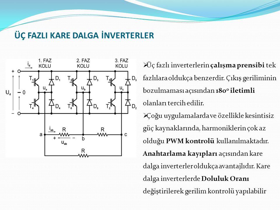 ÜÇ FAZLI KARE DALGA İNVERTERLER  Üç fazlı inverterlerin çalışma prensibi tek fazlılara oldukça benzerdir.