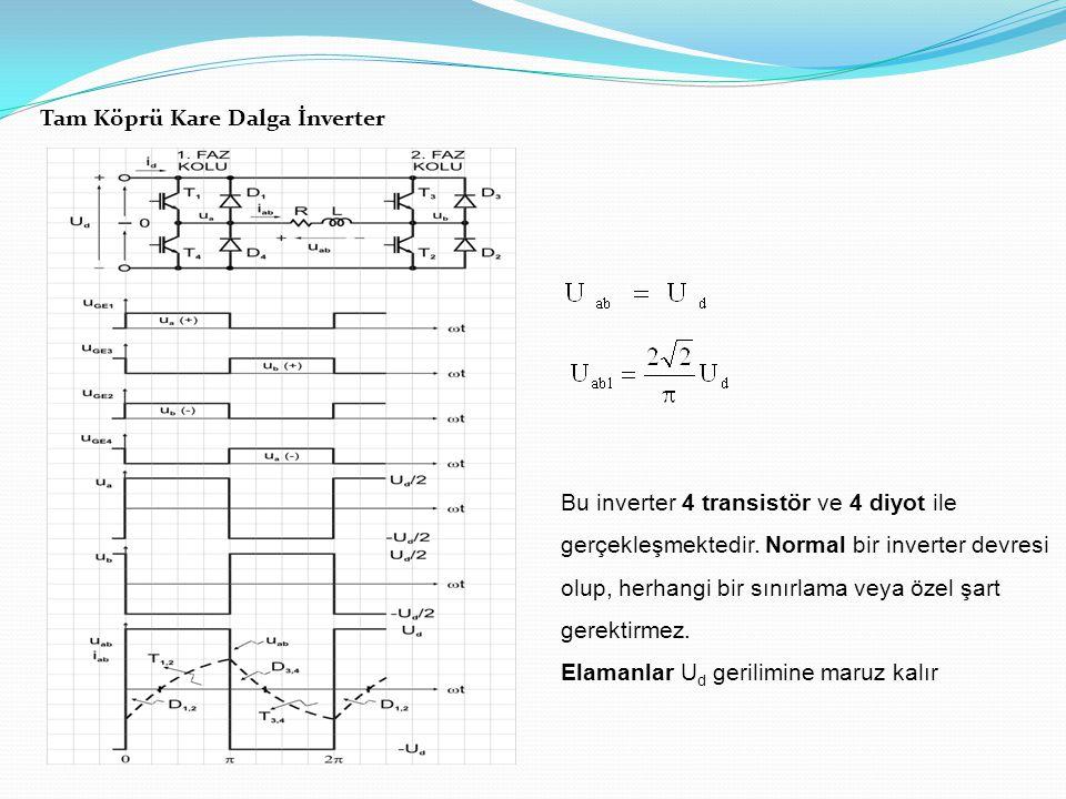 Tam Köprü Kare Dalga İnverter Bu inverter 4 transistör ve 4 diyot ile gerçekleşmektedir.