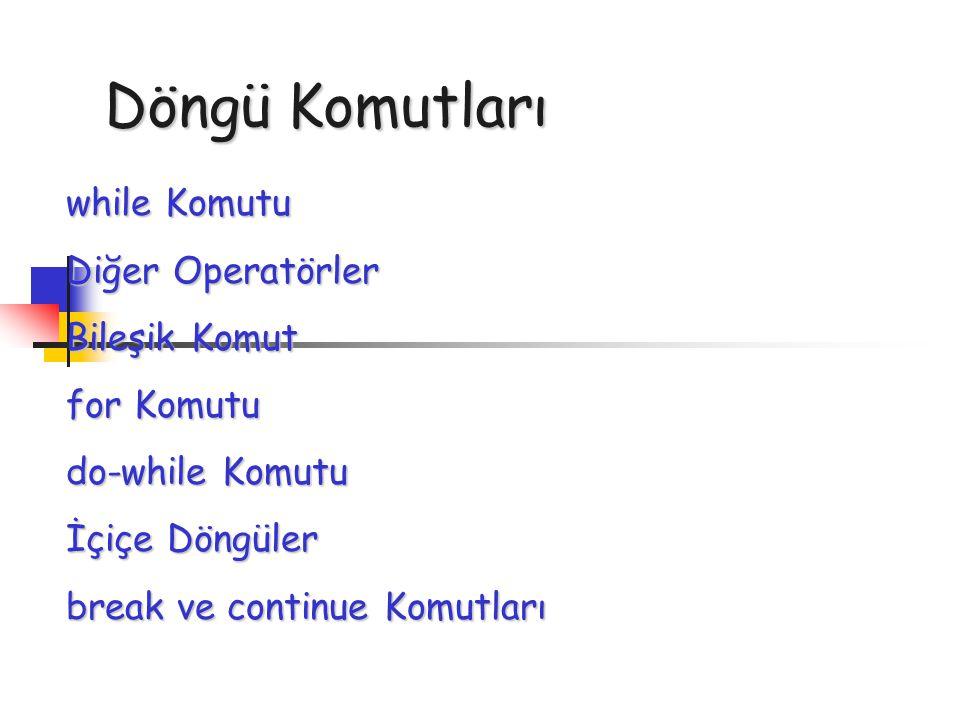 for Komutu while döngüsü sayac=1; while(sayac<=10) { printf( %3d ,sayac); sayac++; } Eşdeğer for döngüsü for(sayac=1; sayac<=10; sayac++) printf( %3d ,sayac);