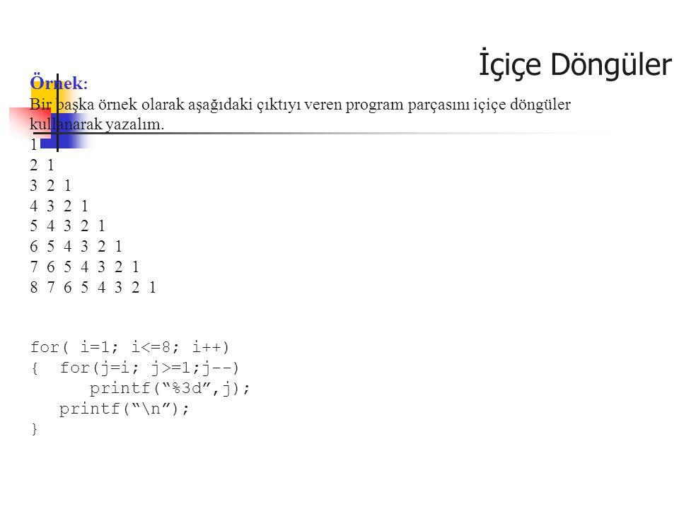 Örnek : Bir başka örnek olarak aşağıdaki çıktıyı veren program parçasını içiçe döngüler kullanarak yazalım. 1 2 1 3 2 1 4 3 2 1 5 4 3 2 1 6 5 4 3 2 1