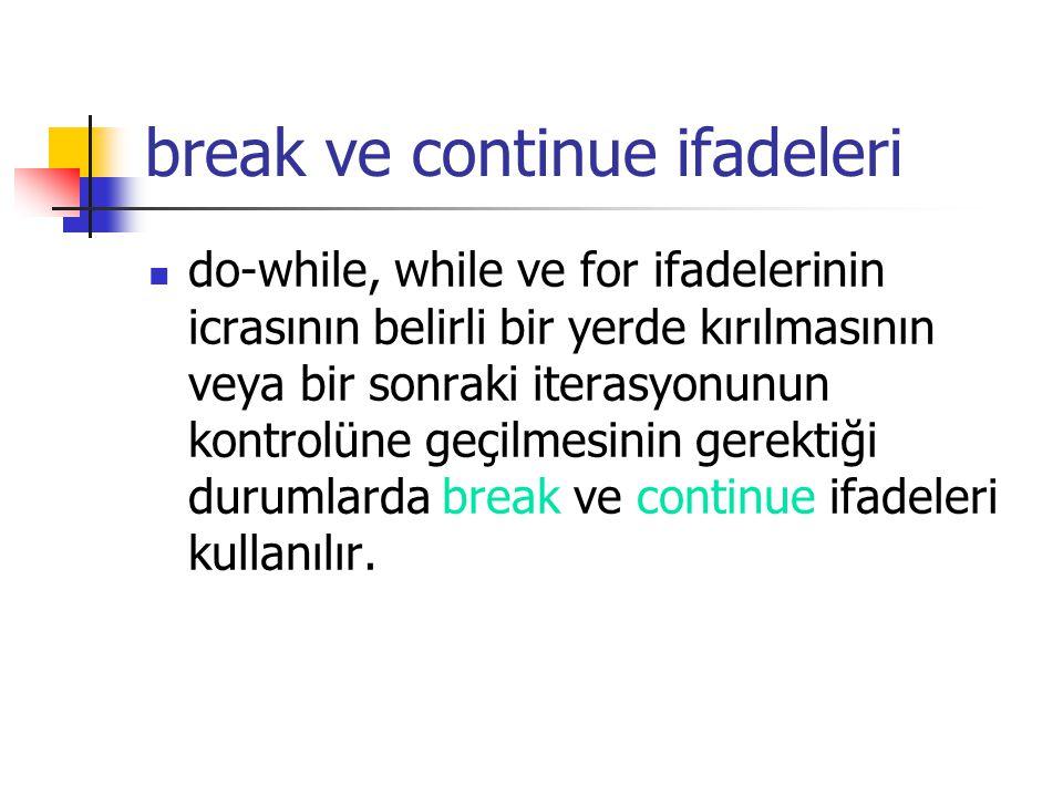 break ve continue ifadeleri do-while, while ve for ifadelerinin icrasının belirli bir yerde kırılmasının veya bir sonraki iterasyonunun kontrolüne geç