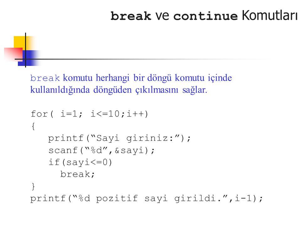 """break ve continue Komutları break komutu herhangi bir döngü komutu içinde kullanıldığında döngüden çıkılmasını sağlar. for( i=1; i<=10;i++) { printf("""""""