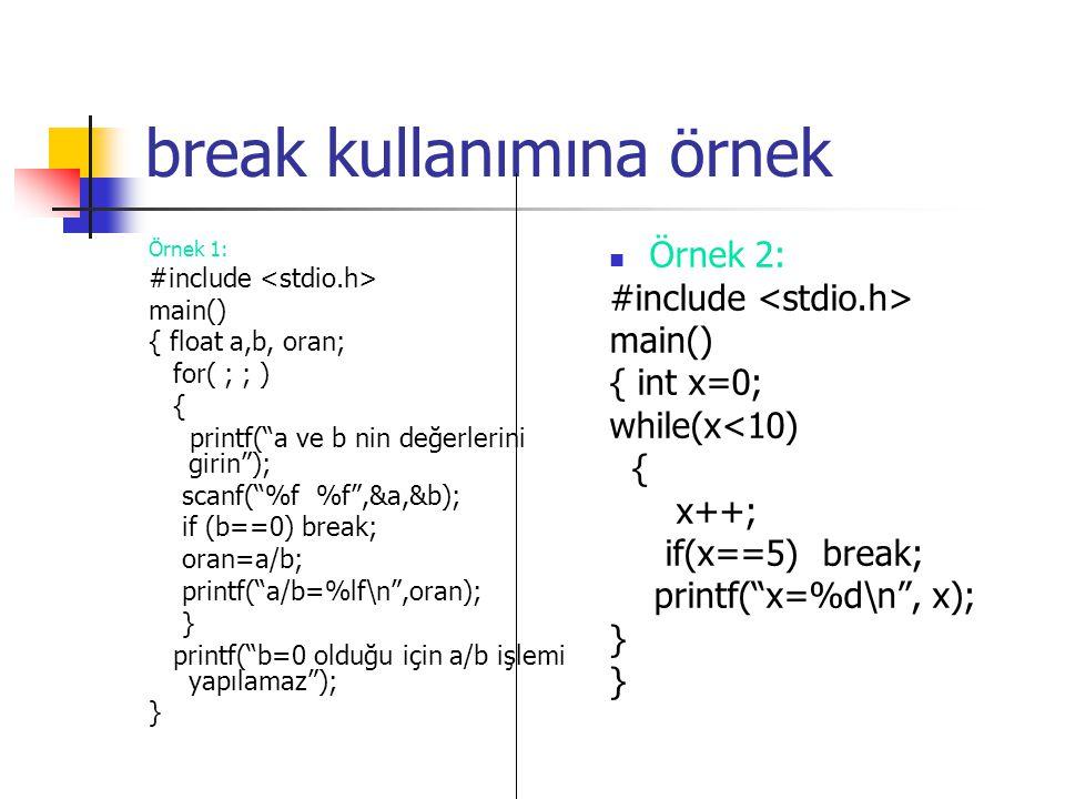 """break kullanımına örnek Örnek 1: #include main() { float a,b, oran; for( ; ; ) { printf(""""a ve b nin değerlerini girin""""); scanf(""""%f %f"""",&a,&b); if (b=="""