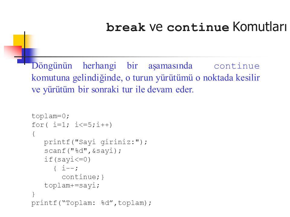 break ve continue Komutları Döngünün herhangi bir aşamasında continue komutuna gelindiğinde, o turun yürütümü o noktada kesilir ve yürütüm bir sonraki