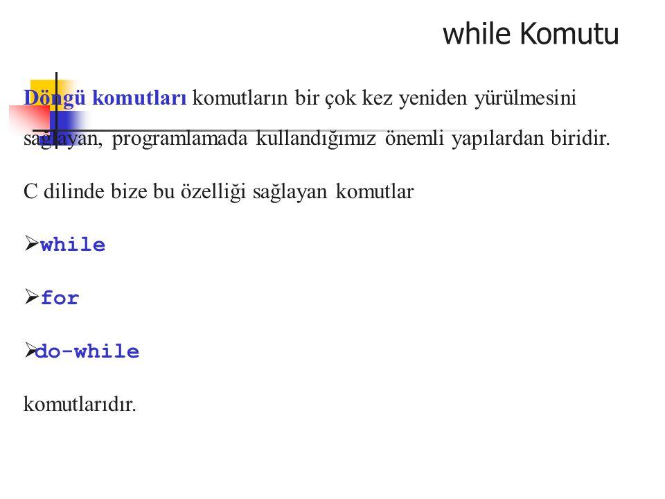 for Komutu Örnek: Pozitif bir n sayısını ve bu n sayısı kadar da tamsayıyı girdi olarak alan programı yazınız.
