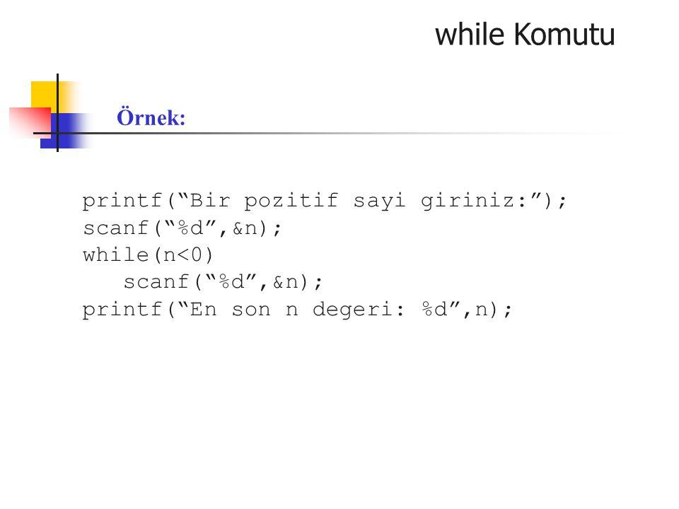 "while Komutu printf(""Bir pozitif sayi giriniz:""); scanf(""%d"",&n); while(n<0) scanf(""%d"",&n); printf(""En son n degeri: %d"",n); Örnek:"