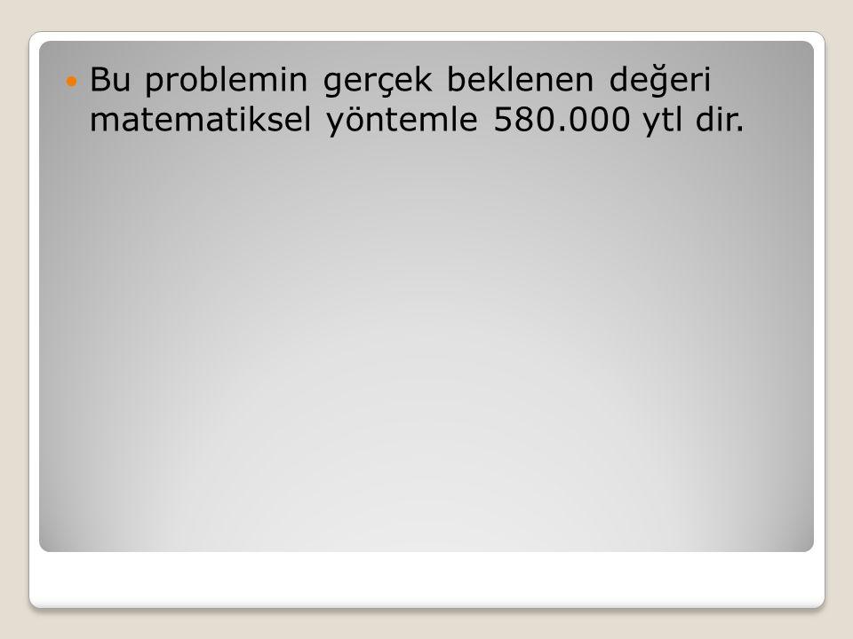 Bu problemin gerçek beklenen değeri matematiksel yöntemle 580.000 ytl dir.