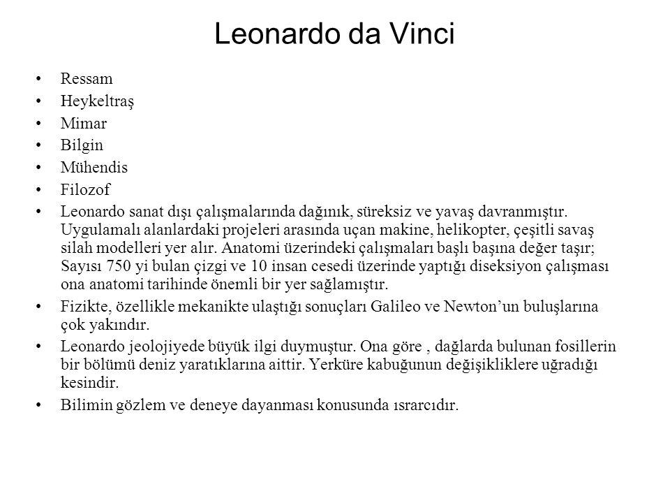 Leonardo da Vinci Ressam Heykeltraş Mimar Bilgin Mühendis Filozof Leonardo sanat dışı çalışmalarında dağınık, süreksiz ve yavaş davranmıştır.