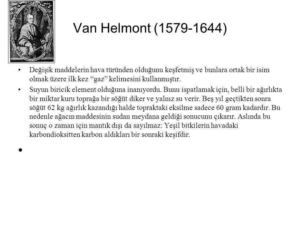 Van Helmont (1579-1644) Değişik maddelerin hava türünden olduğunu keşfetmiş ve bunlara ortak bir isim olmak üzere ilk kez gaz kelimesini kullanmıştır.