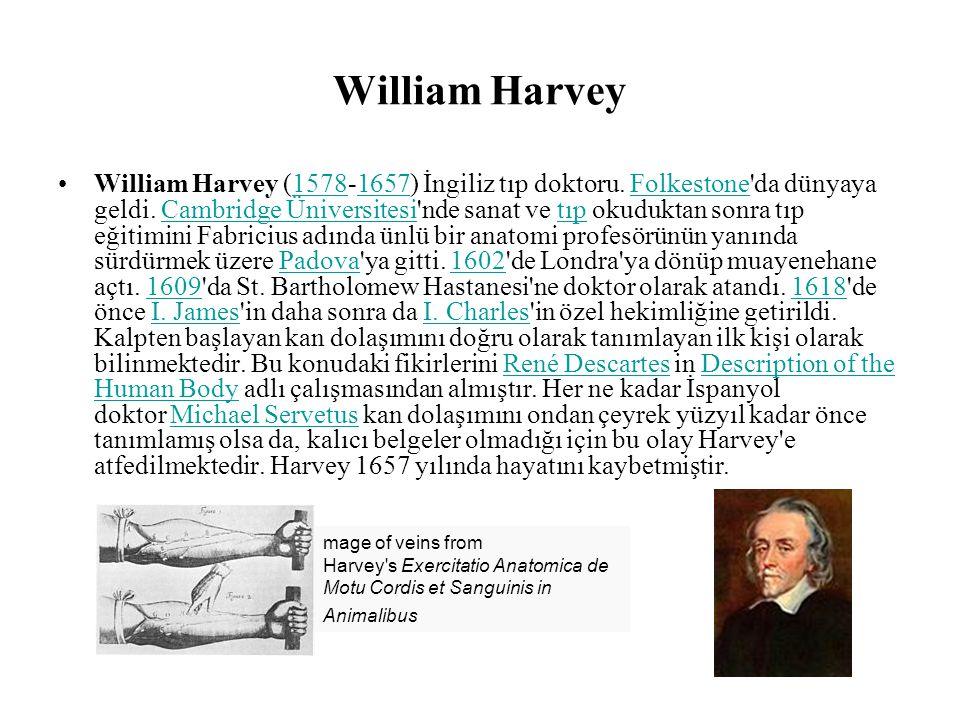 William Harvey William Harvey (1578-1657) İngiliz tıp doktoru.