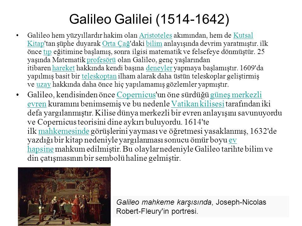 Galileo Galilei (1514-1642) Galileo hem yüzyıllardır hakim olan Aristoteles akımından, hem de Kutsal Kitap tan şüphe duyarak Orta Çağ daki bilim anlayışında devrim yaratmıştır.