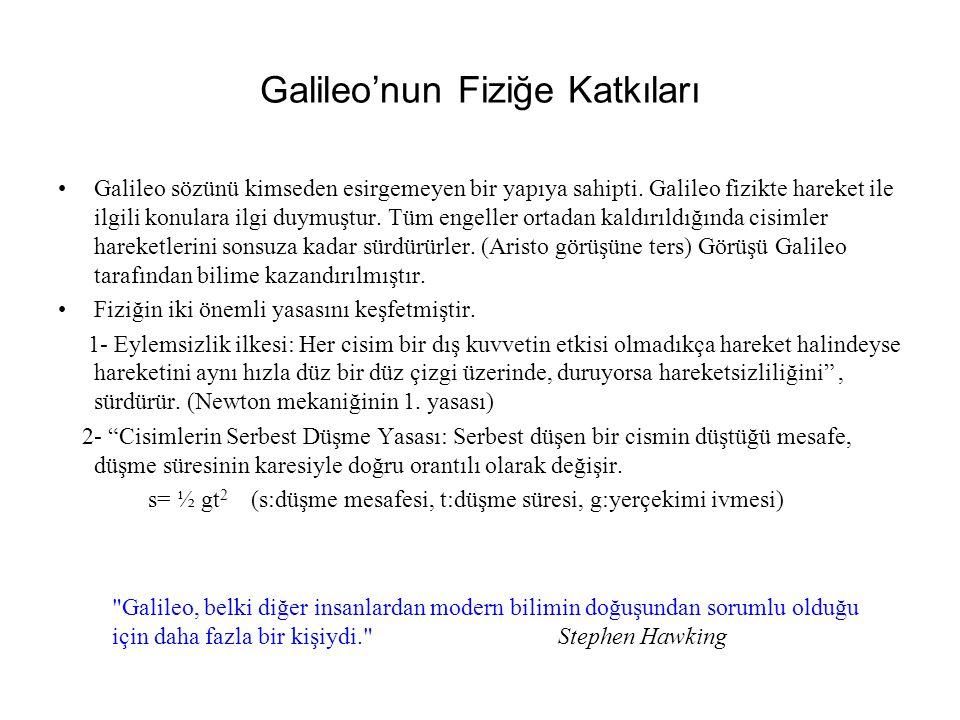 Galileo'nun Fiziğe Katkıları Galileo sözünü kimseden esirgemeyen bir yapıya sahipti.