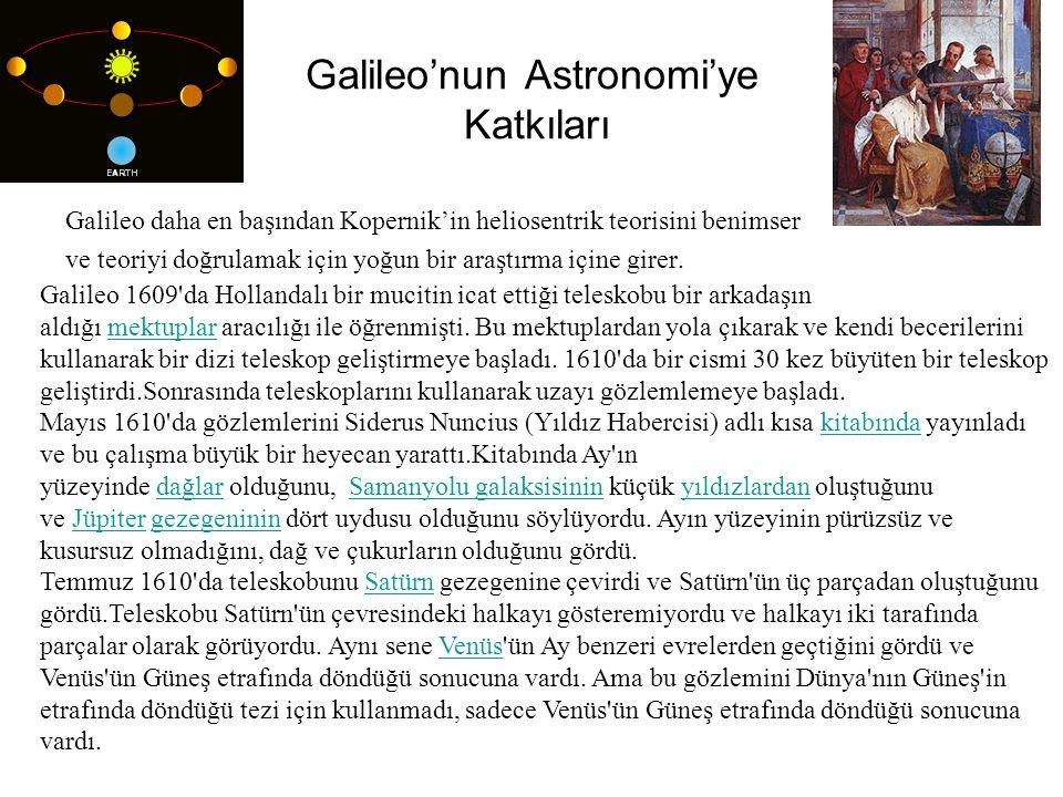 Galileo'nun Astronomi'ye Katkıları Galileo daha en başından Kopernik'in heliosentrik teorisini benimser ve teoriyi doğrulamak için yoğun bir araştırma içine girer.