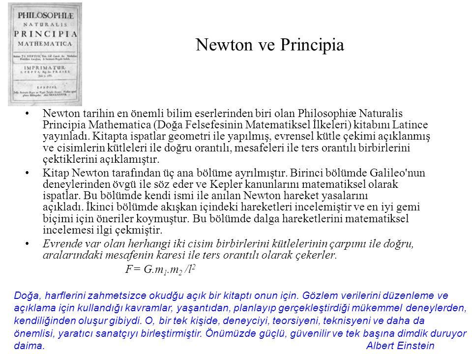 Newton ve Principia Newton tarihin en önemli bilim eserlerinden biri olan Philosophiæ Naturalis Principia Mathematica (Doğa Felsefesinin Matematiksel İlkeleri) kitabını Latince yayınladı.
