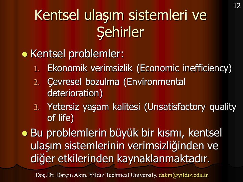 12 Kentsel ulaşım sistemleri ve Şehirler Kentsel problemler: Kentsel problemler: 1. Ekonomik verimsizlik (Economic inefficiency) 2. Çevresel bozulma (