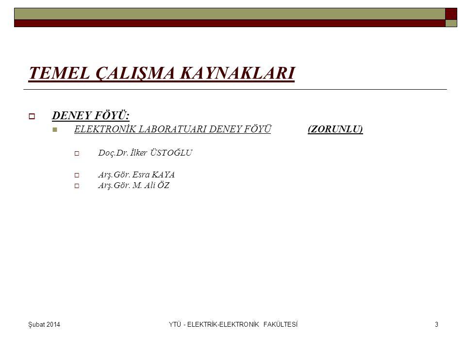 Şubat 2014YTÜ - ELEKTRİK-ELEKTRONİK FAKÜLTESİ3 TEMEL ÇALIŞMA KAYNAKLARI  DENEY FÖYÜ: ELEKTRONİK LABORATUARI DENEY FÖYÜ(ZORUNLU)  Doç.Dr. İlker ÜSTOĞ