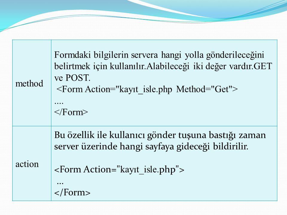 method Formdaki bilgilerin servera hangi yolla gönderileceğini belirtmek için kullanılır.Alabileceği iki değer vardır.GET ve POST..... action Bu özell