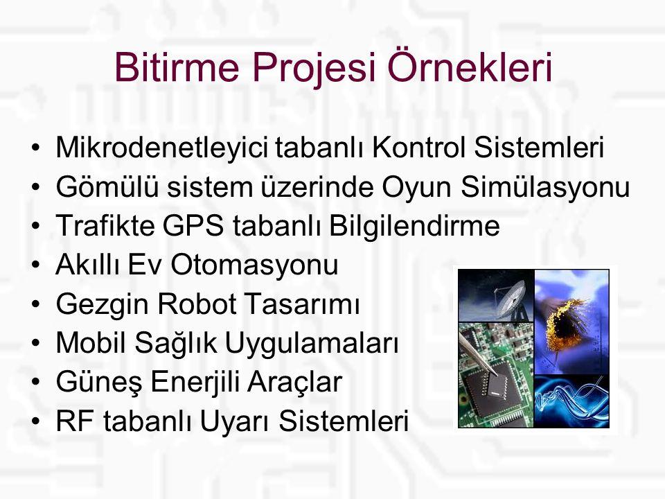 Bitirme Projesi Örnekleri Mikrodenetleyici tabanlı Kontrol Sistemleri Gömülü sistem üzerinde Oyun Simülasyonu Trafikte GPS tabanlı Bilgilendirme Akıllı Ev Otomasyonu Gezgin Robot Tasarımı Mobil Sağlık Uygulamaları Güneş Enerjili Araçlar RF tabanlı Uyarı Sistemleri