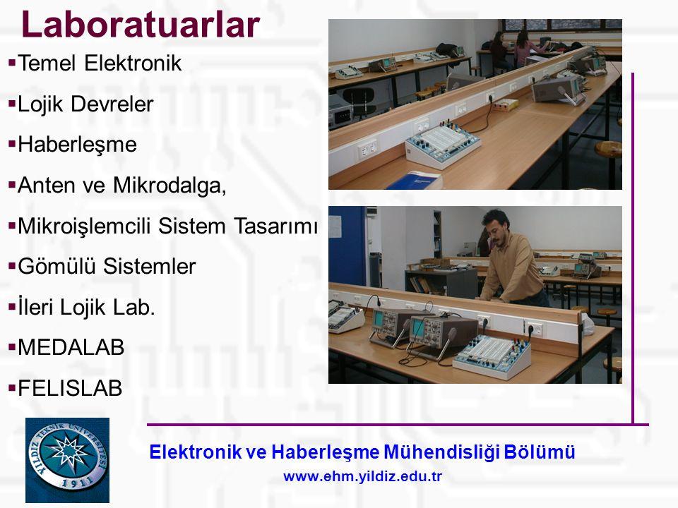 Elektronik ve Haberleşme Mühendisliği Bölümü www.ehm.yildiz.edu.tr Laboratuarlar  Temel Elektronik  Lojik Devreler  Haberleşme  Anten ve Mikrodalga,  Mikroişlemcili Sistem Tasarımı  Gömülü Sistemler  İleri Lojik Lab.