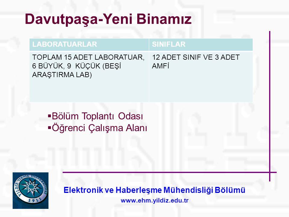 Elektronik ve Haberleşme Mühendisliği Bölümü www.ehm.yildiz.edu.tr Davutpaşa-Yeni Binamız LABORATUARLARSINIFLAR TOPLAM 15 ADET LABORATUAR, 6 BÜYÜK, 9