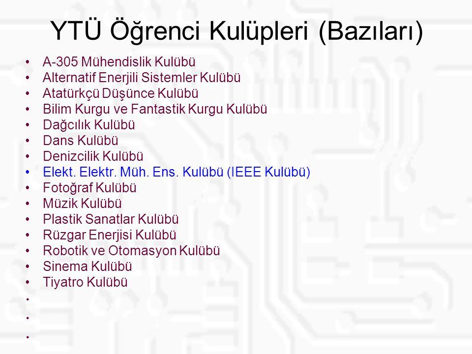 YTÜ Öğrenci Kulüpleri (Bazıları) A-305 Mühendislik Kulübü Alternatif Enerjili Sistemler Kulübü Atatürkçü Düşünce Kulübü Bilim Kurgu ve Fantastik Kurgu