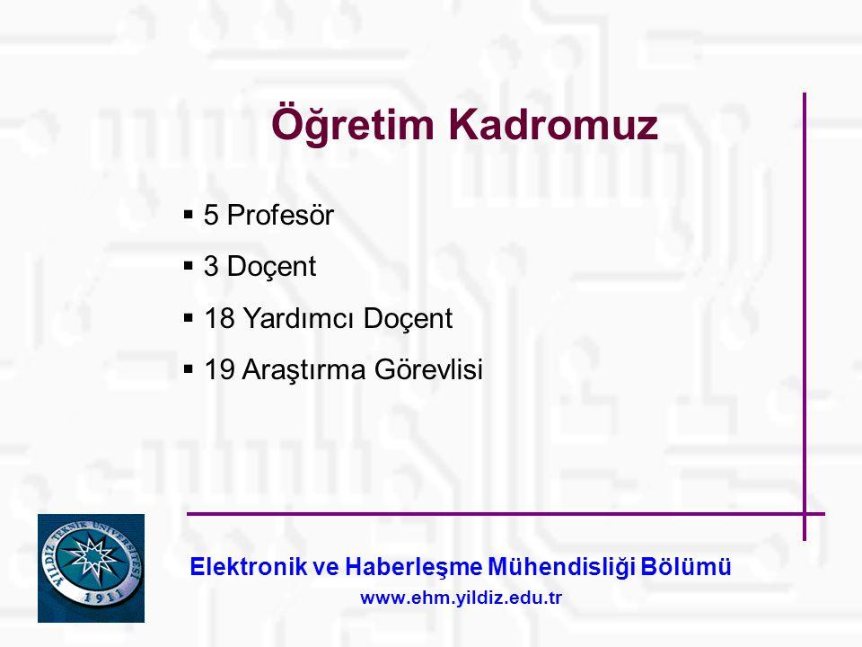 Elektronik ve Haberleşme Mühendisliği Bölümü www.ehm.yildiz.edu.tr Öğretim Kadromuz  5 Profesör  3 Doçent  18 Yardımcı Doçent  19 Araştırma Görevlisi