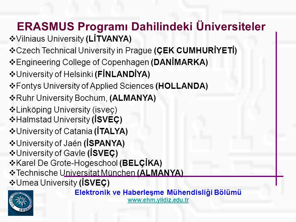 Elektronik ve Haberleşme Mühendisliği Bölümü www.ehm.yildiz.edu.tr ERASMUS Programı Dahilindeki Üniversiteler  Vilniaus University (LİTVANYA)  Czech Technical University in Prague (ÇEK CUMHURİYETİ)  Engineering College of Copenhagen (DANİMARKA)  University of Helsinki (FİNLANDİYA)  Fontys University of Applied Sciences (HOLLANDA)  Ruhr University Bochum, (ALMANYA)  Linköping University (isveç)  Halmstad University (İSVEÇ)  University of Catania (İTALYA)  University of Jaén (İSPANYA)  University of Gavle (İSVEÇ)  Karel De Grote-Hogeschool (BELÇİKA)  Technische Universitat München (ALMANYA)  Umea University (İSVEÇ)