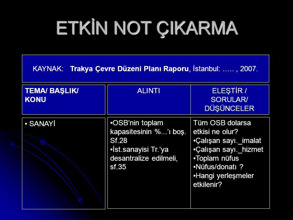 ETKİN NOT ÇIKARMA KAYNAK: Trakya Çevre Düzeni Planı Raporu, İstanbul: ….., 2007. TEMA/ BAŞLIK/ KONU ALINTI ELEŞTİR / SORULAR/ DÜŞÜNCELER SANAYİ OSB'ni