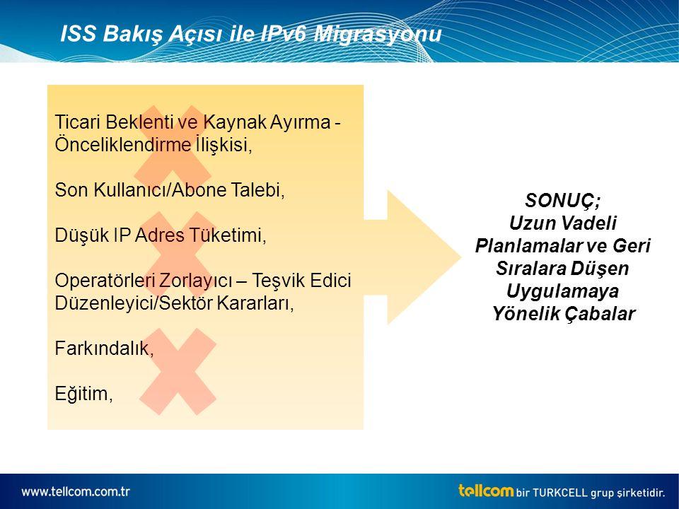 ISS Bakış Açısı ile IPv6 Migrasyonu Ticari Beklenti ve Kaynak Ayırma - Önceliklendirme İlişkisi, Son Kullanıcı/Abone Talebi, Düşük IP Adres Tüketimi, Operatörleri Zorlayıcı – Teşvik Edici Düzenleyici/Sektör Kararları, Farkındalık, Eğitim, SONUÇ; Uzun Vadeli Planlamalar ve Geri Sıralara Düşen Uygulamaya Yönelik Çabalar