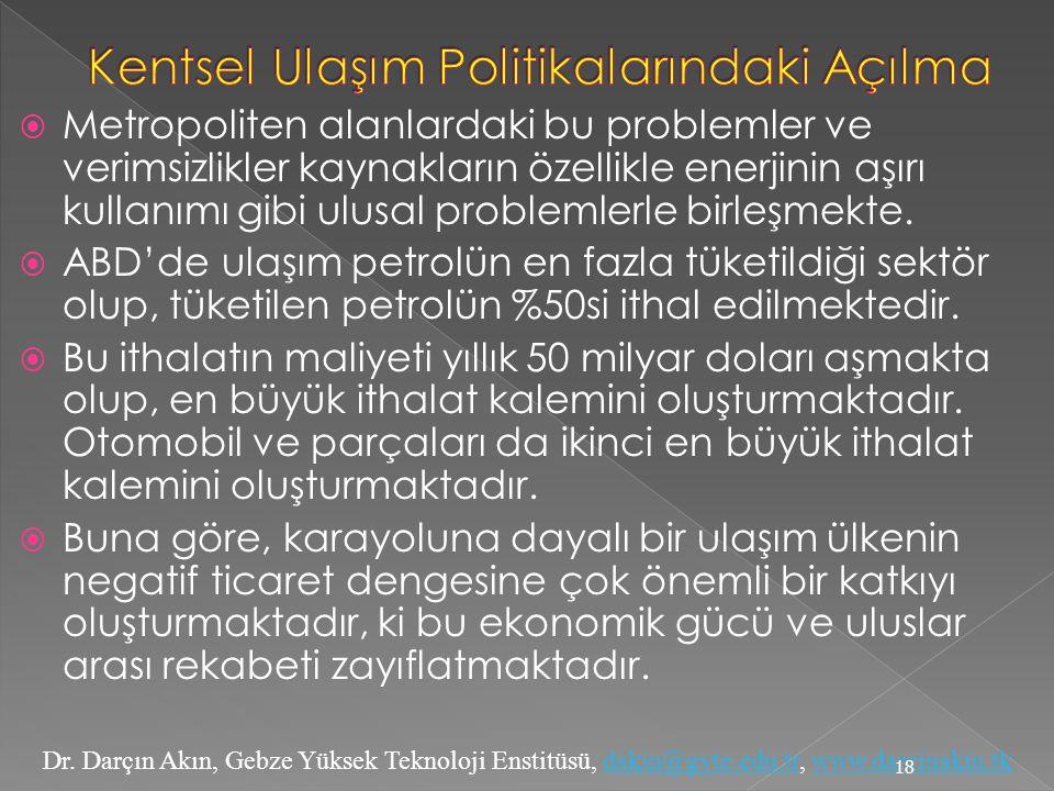 Dr. Darçın Akın, Gebze Yüksek Teknoloji Enstitüsü, dakin@gyte.edu.tr, www.darcinakin.tkdakin@gyte.edu.trwww.darcinakin.tk  Metropoliten alanlardaki b
