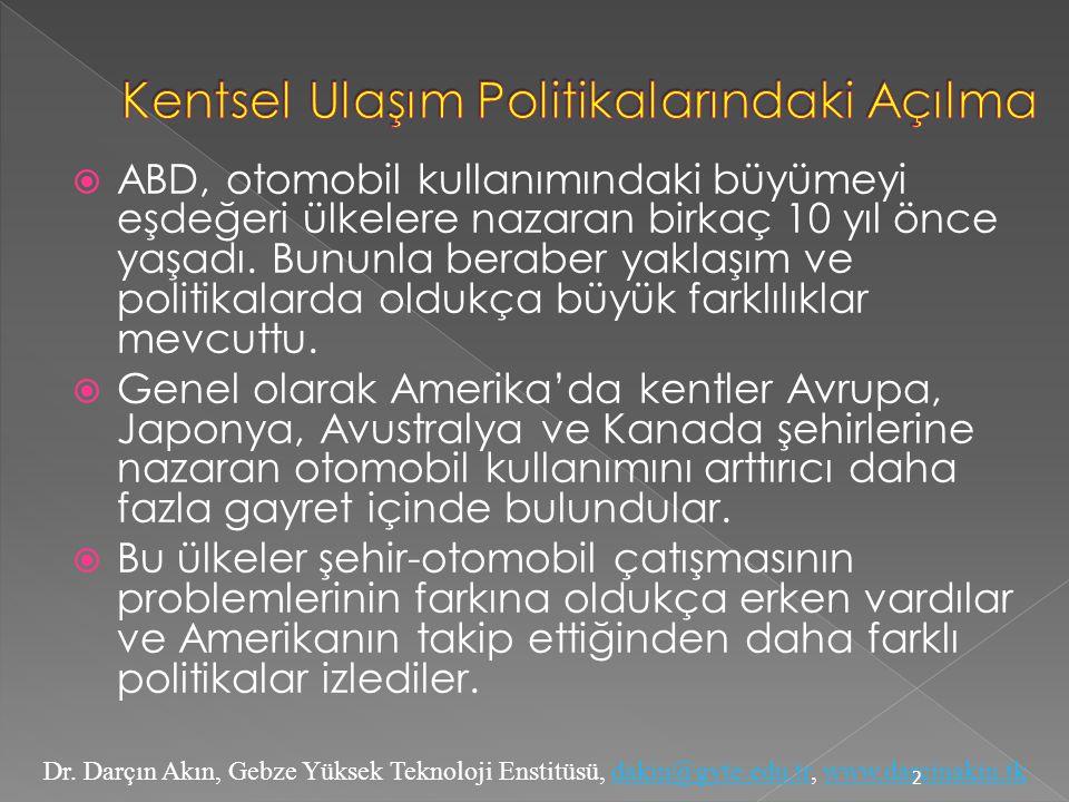 Dr. Darçın Akın, Gebze Yüksek Teknoloji Enstitüsü, dakin@gyte.edu.tr, www.darcinakin.tkdakin@gyte.edu.trwww.darcinakin.tk  ABD, otomobil kullanımında