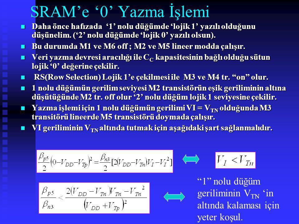 SRAM'e '0' Yazma İşlemi Daha önce hafızada '1' nolu düğümde 'lojik 1' yazılı olduğunu düşünelim. ('2' nolu düğümde 'lojik 0' yazılı olsun). Daha önce