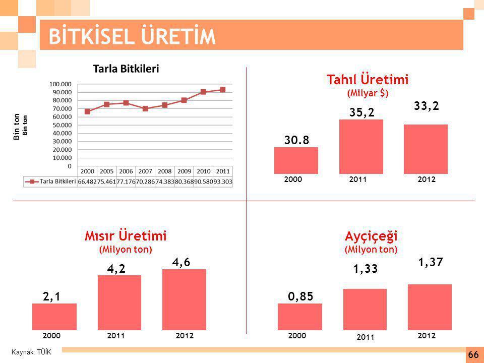 Kaynak: TÜİK 66 BİTKİSEL ÜRETİM 33,2 35,2 30.8 200020112012 Tahıl Üretimi (Milyar $) 4,6 4,2 2,1 200020112012 Mısır Üretimi (Milyon ton) 1,37 1,33 0,8