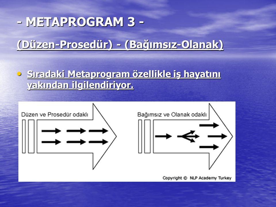 - METAPROGRAM 3 - (Düzen-Prosedür) - (Bağımsız-Olanak) Sıradaki Metaprogram özellikle iş hayatını yakından ilgilendiriyor. Sıradaki Metaprogram özelli